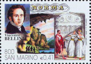 Zwei Szenen aus Norma, wie man sie auf einer Briefmarke sieht, die San Marino 1999 herausgegeben hat.
