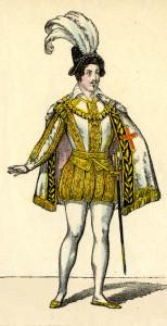Historischer Kostümentwurf für den Don Carlos von Schiller, hier sieht man den Titelhelden.
