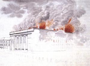 Brand des Berliner Schaupielhauses 1817/Aquarell/Wiki