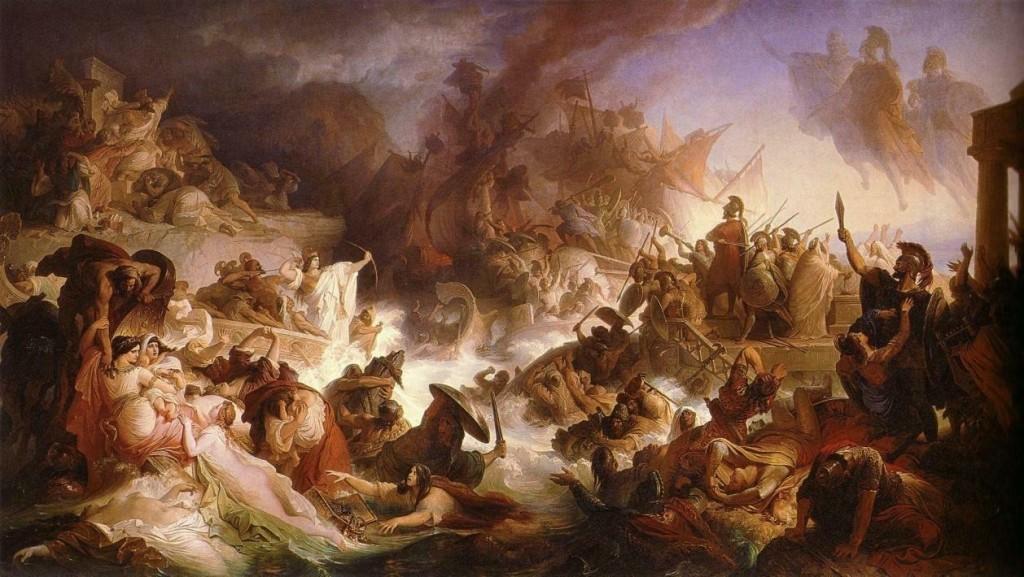 """""""Die Seeschlacht bei Salamis"""", Gemälde von Kaulbach 1868/OBA"""