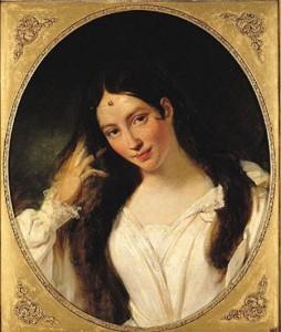 """Die """"KLonkurrenz"""": Maria Malibran, selber Spanierin, als Desdemona in Rossinis """"Otello/Gemälde von Bouchot/OBA"""