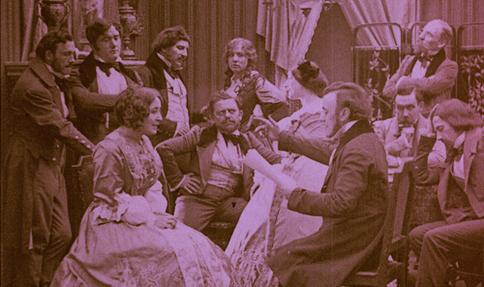 Szene aus dem Stummfilm über Wagner von 1913 mit Giuseppe Becce.