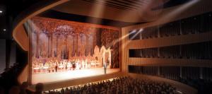 Blickl inden Zuschauersaal der Permer Staatsopr mit Ballett/Tschaikowsky-Staatsoper Perm
