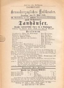 """""""Tanhäuser""""-Programmzeittel der Erstaufführung 1846/OBA"""