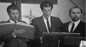 """Bei der Aufnahme von brittens Kantate """"The fiery furnace"""" 1957: Roger Brenner, John Shirley-Quirk und Robert Tear/Decca/Youtube"""