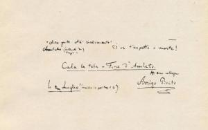 """""""Amleto"""": Autograph mit Boitos Abschluss-Vermerk/DeRensis/AB"""