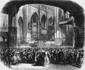 """Die berühmte Münsterszene im """"Prophète"""" - Illustration zur Uraufführung/OBA"""