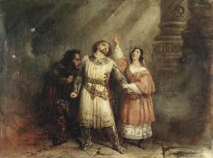 "Das Final-Trio im letzten Akt des ""Robert le Diable"", Gemälde von Lepaulle/OBA"