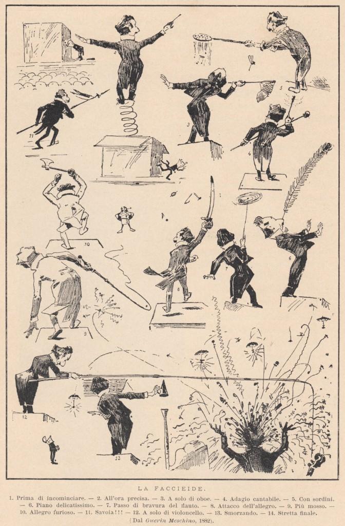 Franco Faccio: zeitgenössische Karikatur/OBA