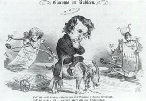 Antisemitische karaikatur zu Meyerbeers gesellschaftlichen Ambitionen in Paris/OBA