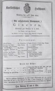 """""""Ginevra"""" - Theaterzettel für München 1805/ISMG"""