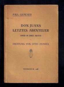 "Paul Graener: Libretto zu ""Don Juans letztes Abenteuer""/OBA"