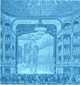"""""""Les Bayadéres"""": Das Innere der Salle Pelletier, wo die Oper zur Eröffnung des Hauses 1821 gegeben wurde/Bibliothèque Musée Opéra/Palazetto"""