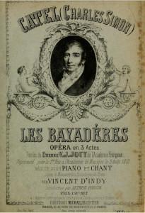 """Les Bayadéres"": Einband der Klavierreduktion von Vincent d´Indy/OBA"