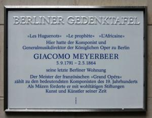 """""""Dinorah"""": Gedenktafel für Myerbeer am Sitz seiner Wohnhauses Pariser Platz 6a, berlin/OBA"""