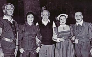 """""""Fidelio"""", Athen 1957: Martha Mödl und der Dirigent Horenstein in der Mitte umrahmt von Deszö Ernster, Zoe Vlachopoulos und Aristo Padazinakos/Archipel"""