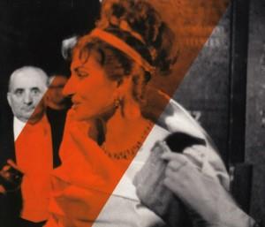 Maria callas an der Pariser Oper als Tosca im 2. Akt (Aufnahme hinter der Szene mit ihrem Ehemann Battistista Meneghini/Foto INA)
