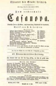 "Albert Lortzing: ""Casanova"", Theaterzettel Theater Leipzig 1841/OBA"