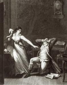 """Méhul: Die Wirkung der Gesänge Ossians - Illustration zu Goethes """"werter"""" von Nicolai Abraham Abildgaard/ Staatsbibliothek Berlin"""