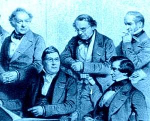 De gauche à droite : Lindpaintner, Spohr, Molique, Berlioz et Ella, partie d'une intéressante lithographie (où figure également Vieuxtemps) exécutée en 1853 d'après un dessin de Charles Baugniet (1814-1886), intitulée L'Analyse. Souvenir de la Musical Union (Neuvième Saison) et reproduite sur une page du riche site Hector Berlioz/mvnm.org