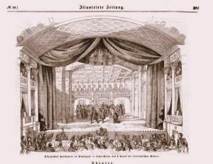 """Lindpaintner: Bühnenbild zur """"Sizianischen Vesper"""" in der Stuttgarter Aufführung/Tosta"""