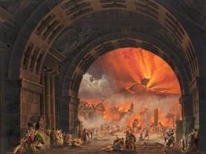 """Herculanium""/ Bühnenbild von Sanquirico für Pacinis Oper ""L´ultimo giorno di Pompei"" 1827 an der Scala/OBA"