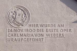 """Carl Maria von Weber: Gerdenktafel zum """"Waldmädchen""""/ Theater Freiberg"""