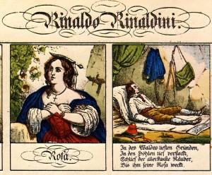 """""""Die Räuberbraut"""": Prototyp des verwegenen Räubers war Rinaldo Rinaldini, hier auf einer Darstellung des Neuruppiner Bilderbogens/Wiki"""