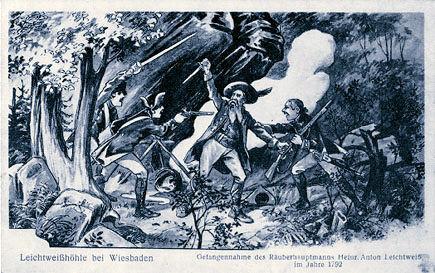 """""""Die Räuberbraut"""": Gefangennahme des Räubers Franz Lechtweis 1792 in der gleichnamigen Höhle bei Wiesbaden/ lechtweis.de"""