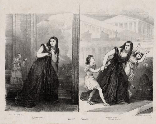 """Medea in Corinto""/ Szene Giuditta Pasta als Medea mit Kindern/ OBA"
