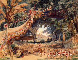 """""""Atahualpa"""": Bühnenbild zu Gomez´""""Guarany""""/ Wiki"""