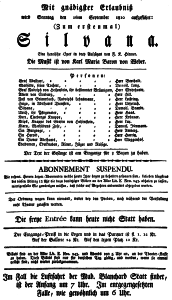 """Carl Maria von Webers: """"Silvana""""/ Theaterzettel der Erstaufführung in Frankfurt/M./ Wiki"""