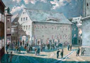 """Das Freiberger Theater um 1870, Aquarell von August Müller/ Freiberger Stadt- und Bergbaumuseum/ Programmheft zur Freiberger Aufführung des Weberschen """"Waldmädchens"""""""