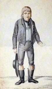"""""""Der junge Kaspar Hauser"""", getuschte Federzeichnung von Laminit, sorgte für die Verbreitung des Topos der verlorenen Kinder. so auch das """"Waldmädchen"""" Webers/ Wikipedia"""
