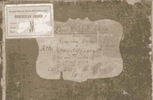 """Carl Maria von Weber: """"Das Waldmädchen"""" - Einband des 1. Aktes/ Staatliches Archiv des Marijnski-Theaters/Progarmmheft Freiberg"""