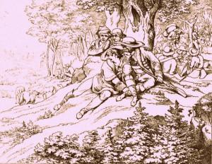 """""""Die Räuberbraut"""": zeitgenössische Illustration zu Schillers """"Räubern""""/ Schiller-Archiv"""