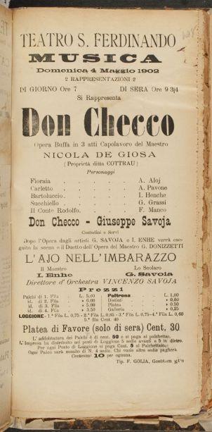 """De Giosa: """"Dob Checco""""/ Aufführungszettel von 1902/ OBA"""
