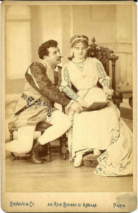 """Camille Saint-Saens: """"Proserpine""""/ die Sängerin der Uraufführung Carloline Salla, hier als Thomas´Francesca neben dem Tenor Henrie Sellier/ Foto ipernity.com"""